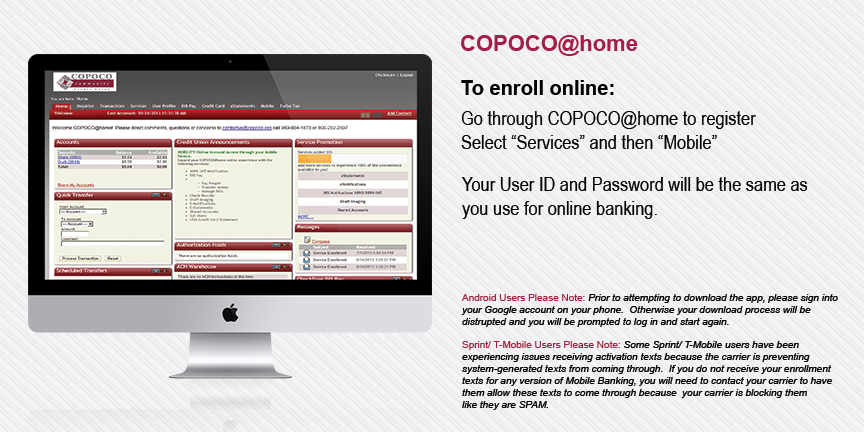 COPOCO at Home mobile banking